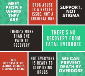 "Image showing series of quotes that humanize substance use abusers. ""support, not stigma"", ""meet people where they are"", ""the opposite of addiction is connection"", ""not everyone is ready to stop using drugs"", etc."